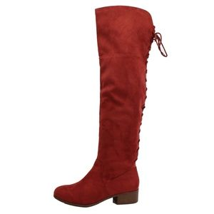Rust Braided Lace Tie Over The Knee Low Heel Boot